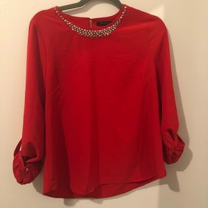 ‼️In Style Red Embellished Neck Blouse Size M‼️